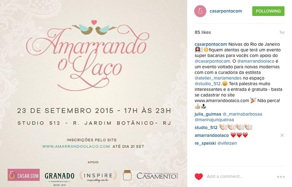"""17/09 - Instagram """"Casar.com"""""""