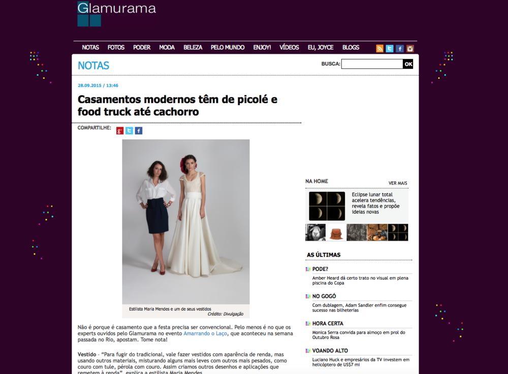 """28/09 - Site """"Glamurama"""""""