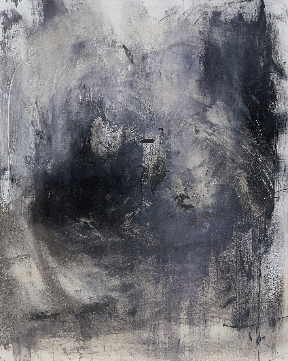 Ceremony (Rufus),   Dog ashes, Oil and Acrylic Paint on Canvas, 5x4 feet, 2015