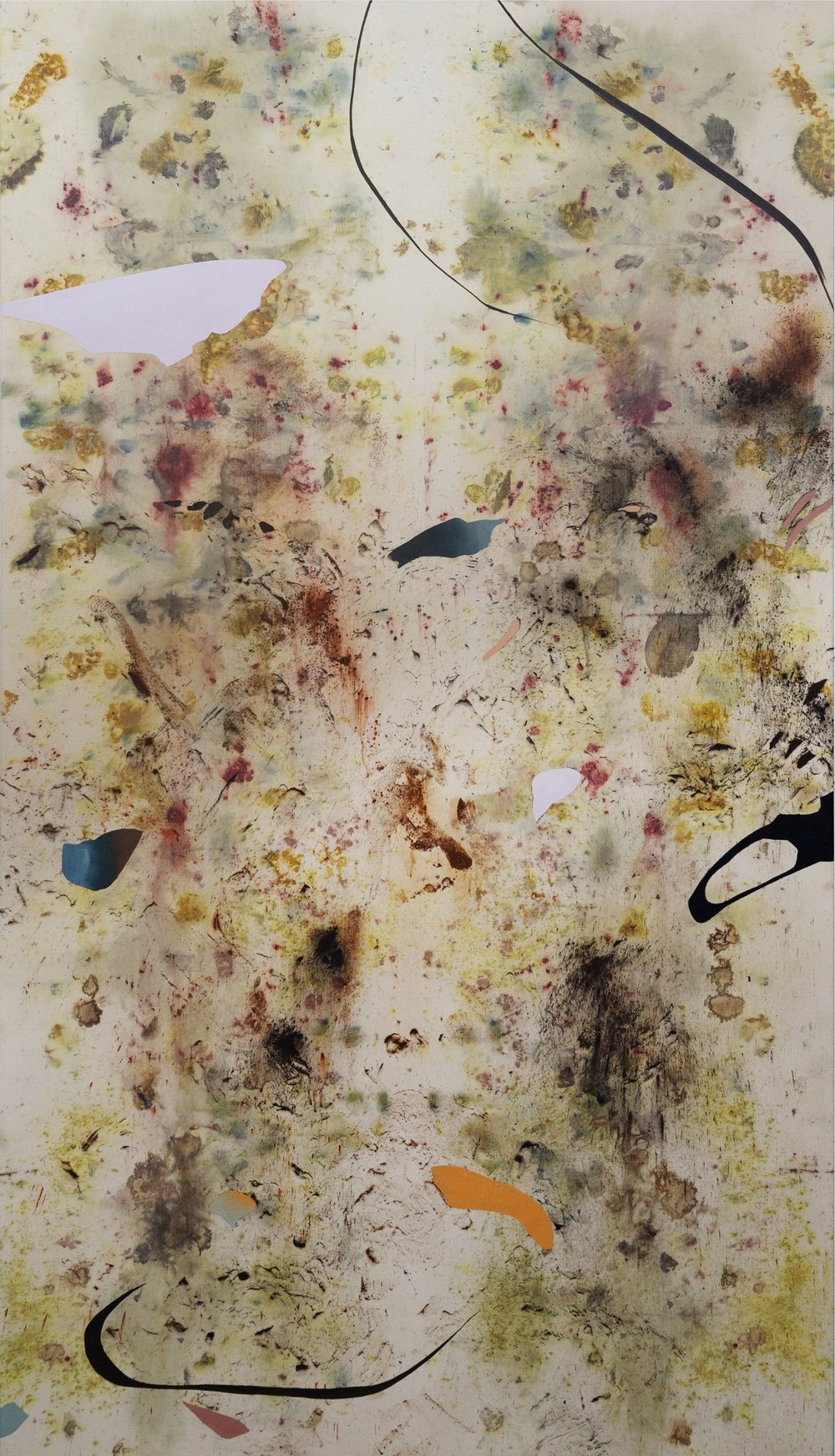 Ghosts of the Schrebergärten, Cold Wax Medium, Oil, Raw Pigments, Sand, Red Earth, Various Plant Materials (including Acorns, Sumac Berries, Oak Leaves, Onion Skins, Tansy Flower, Madder Root, and Wildflowers) on Canvas, 81.5x45 inches, 2018