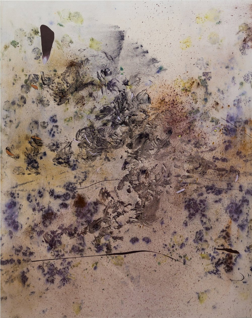 Pollen Hunter, Cold Wax Medium, Oil, Raw Pigments, and Various Plant Materials (including Roses, Irises, Ferns, Onion Skins, Wildflowers, and Rust Sediments) on Canvas, 5x4 feet, 2018