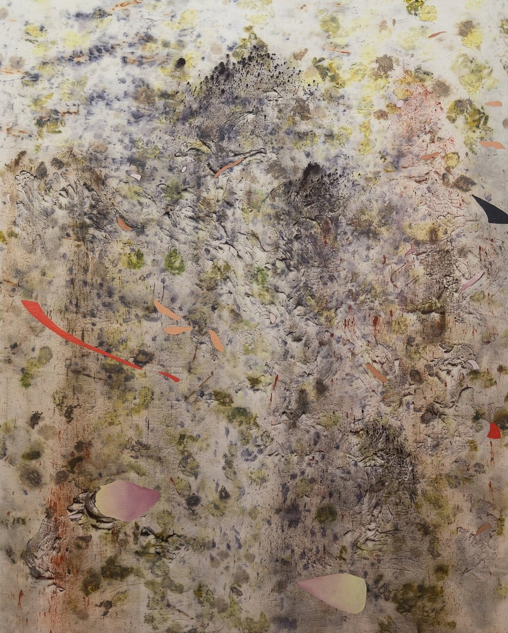 Mourning Humus, Cold Wax Medium, Oil, Raw Pigments, Sand, Red Earth, and Various Plant Materials (including Acorns, Avocado Pits, Ferns, Sumac Berries, Rose Petals, Onion Skins, Tansy Flower, Wildflowers, and Rusty Nails) on Canvas, 5x4 feet, 2018