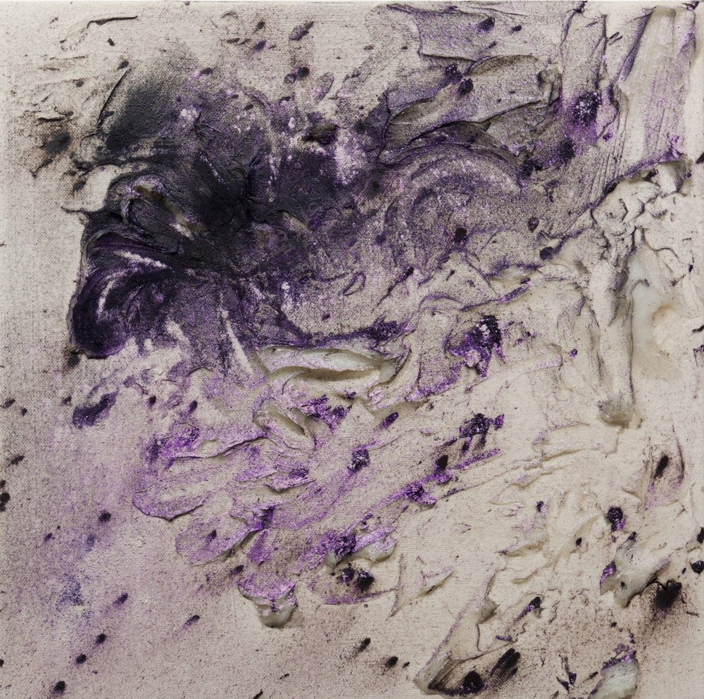 Fumarole 10, Cold Wax Medium and Raw Pigments on Canvas, 1x1 feet, 2017