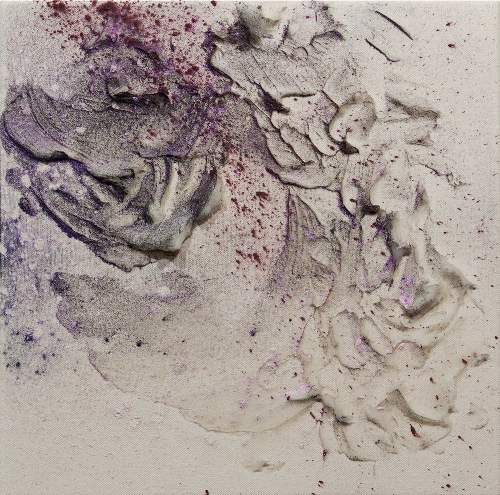 Fumarole 9, Cold Wax Medium and Raw Pigments on Canvas, 1x1 feet, 2017