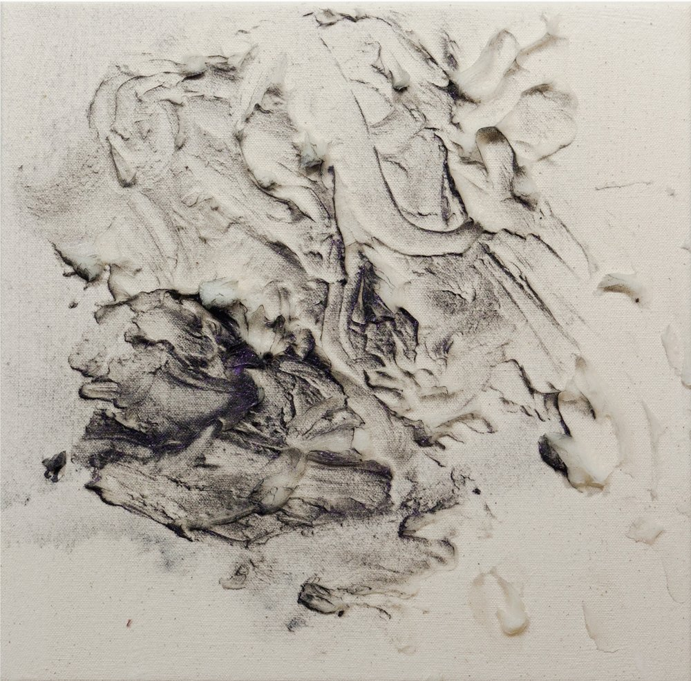 Fumarole 11, Cold Wax Medium and Raw Pigments on Canvas, 1x1 feet, 2017