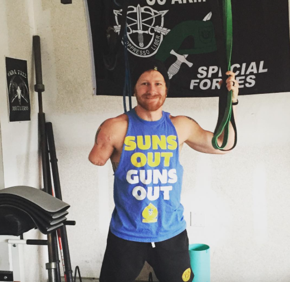 Jared Bullock, flexing after a work out. This photo went Viral even started a t-shirt campaign