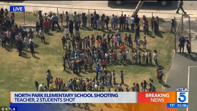 Students were evacuated from North Park Elementary School in San Bernardino on Monday after a shooting in one of its classrooms.