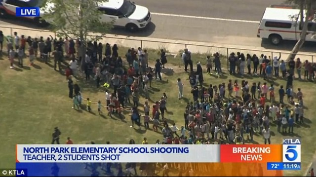 Students were taken to a nearby high school as police rushed to the scene on Monday. Four people including the shooter, a teacher and two students were injured.