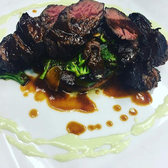 Ohio Hanger Steak | red chili masa cake, broccoli, poblano, ancho demi