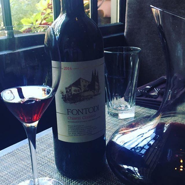 Glass pour feature for the evening. 2014 #fontodi Chianti Classico. Classic and beautiful #italianwine #tuscany