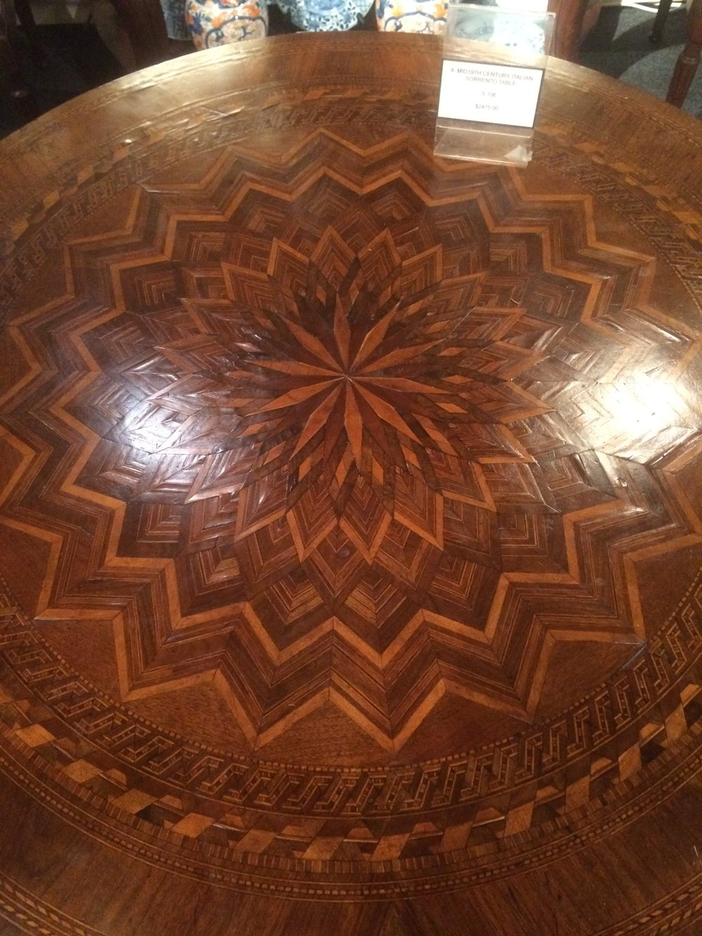 Look at the inlay detail on this center hall table!