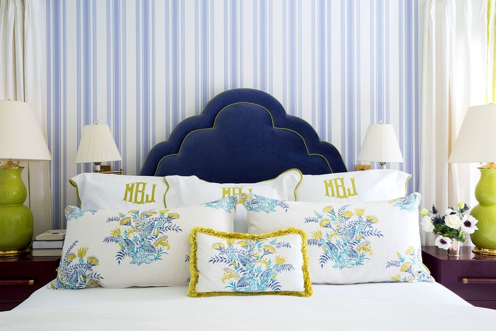 {Monogrammed bedding by Leontine Linens and custom patterned pillows in a Robert Allen fabric; Design by Celerie Kemble and Lindsey Herod for Kemble Interiors}