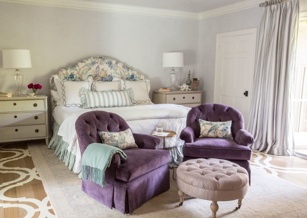 {Design by  Lindsey Herod , bed featuring  Matouk  linens}