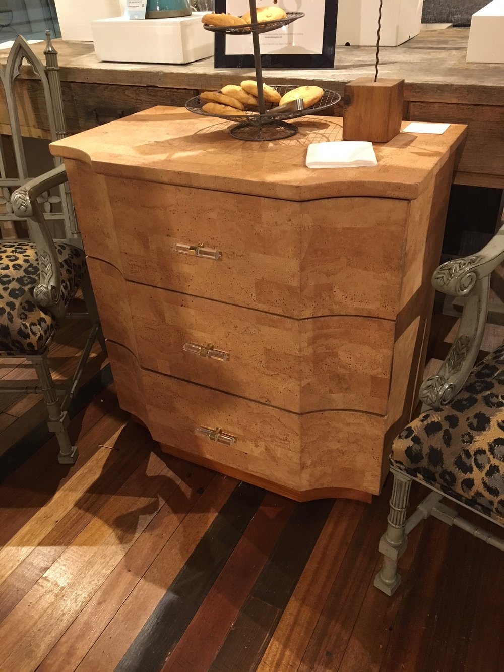 Loved this cork dresser from  Currey & Company . Clean lines, great texture and really digging the lucite and brass hardware. Three drawer nightstands are my favorite for ample storage and a pretty look.