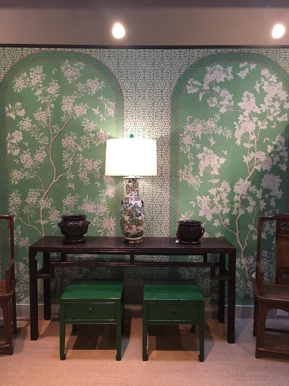 Gracie 's handpainted wallpapers are STUNNING. Their showroom was beautiful to walk through. Can you tell I'm crushing on green right now?!