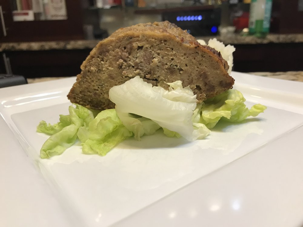 Festivus meatloaf, served on lettuce.