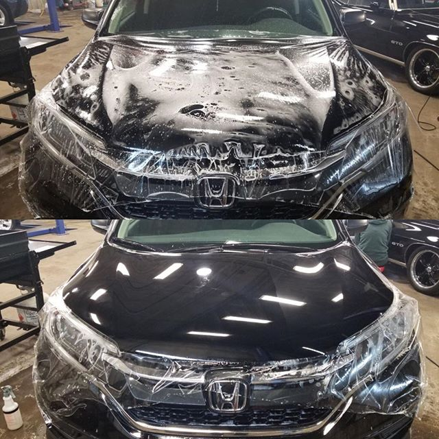 Wrapping full hoods is very common these days. Benefits: see no line & protects entire hood not just the front area #autodetailing #detailingdoneright #mingshine #eatsleepwrap @xpeltech #nomorerockchips #newcarprotection