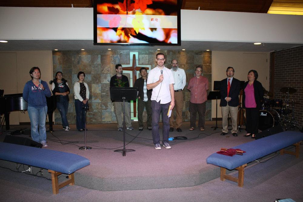 主任牧師Pastor Chris在國語崇拜聚會代表全教會感謝許牧師的服侍。