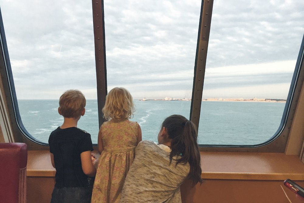 Our first glimpse of France on the ferry towards our new home.