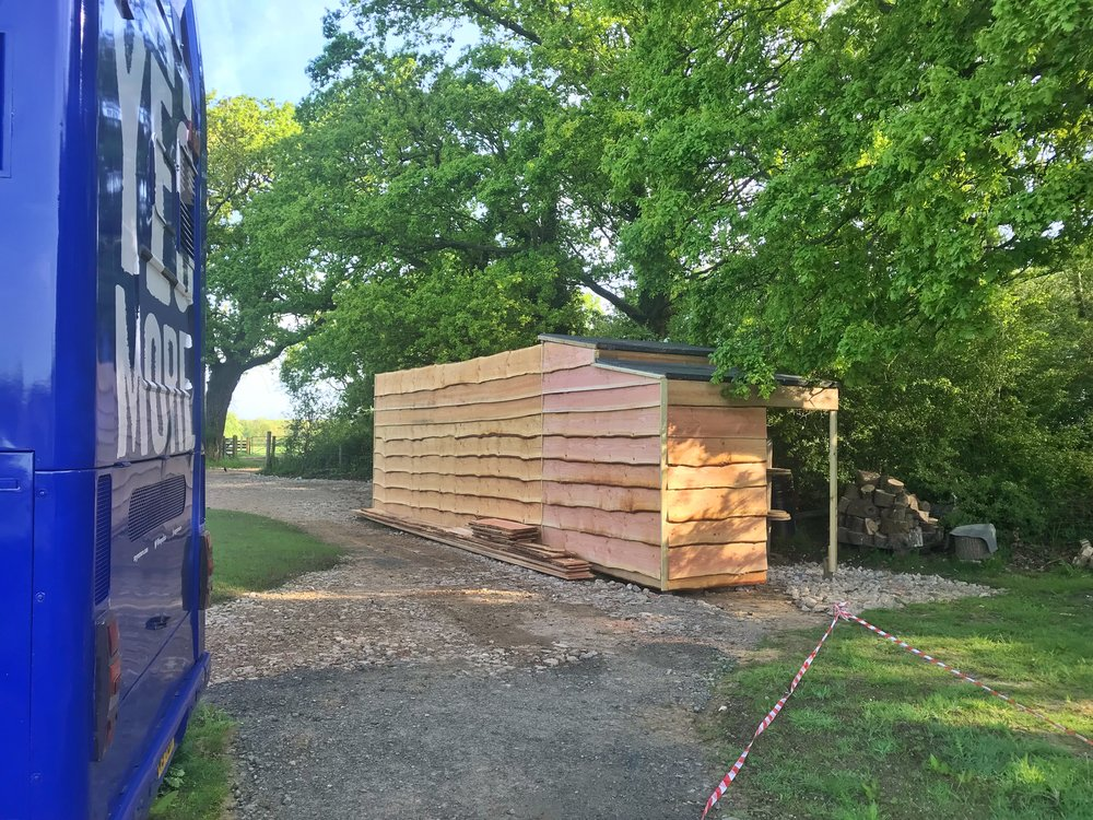 31. Nearly there - By mid May 2018 the shed was finished, the container clad, site landscaped and grass growing strongly. The blackbirds had flown and most of the little jobs onboard the bus had been completed. Perhaps it was time to get some people in. After all, that's what all this was for...