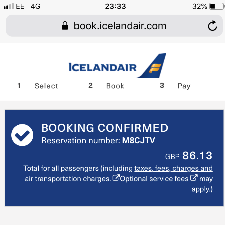 A screenshot of the Iceland Air booking conformation website page