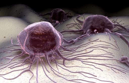 Image of a cancer cell and its processes on a cellular surface.