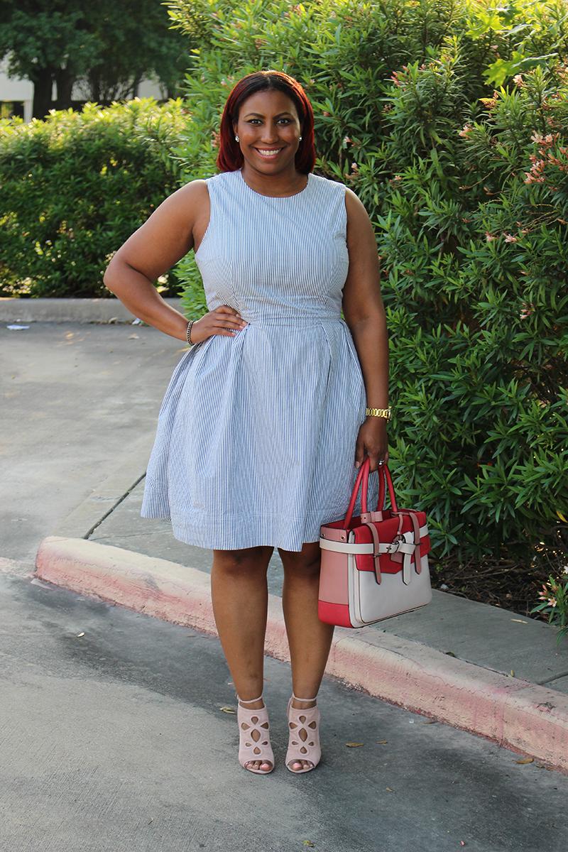 Style Fragement Gap Seesucker dress, Aquazzura Get Me Everywhere booties, Reed Krakoff Boxer Bag