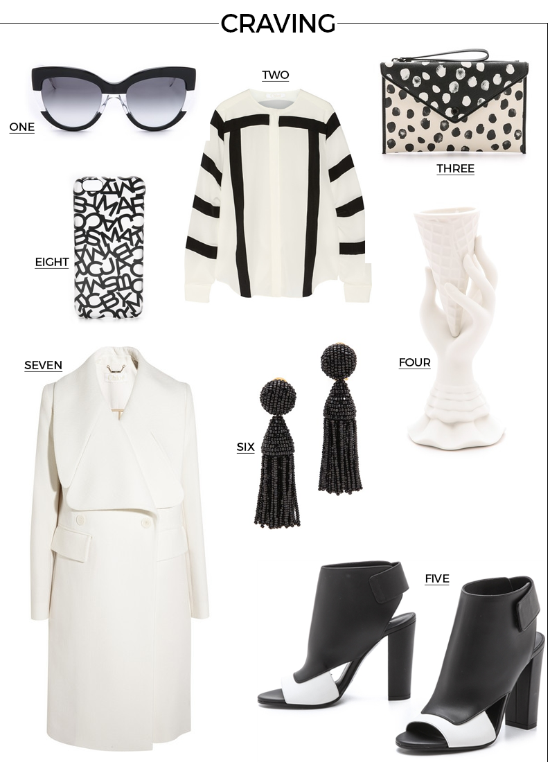 Style Fragment Shopbop Black and White Amazement, loeffler randall, vince, heel, booties, sandals, shades, marc jacobs, oscar de la renta, shades, earrings, jonathan adler, vase, sale, iphone cover, clutch, envelope clutch