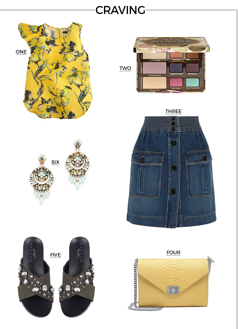 Style Fragment Craving April 2015, Gap, Floral, Too Faced Eyeshadow, Sugar Pop, J.Crew, earrings, Chloe Skirt, slide sandals, bling, embellished, mulberry, bag, handbag, clutch, purse
