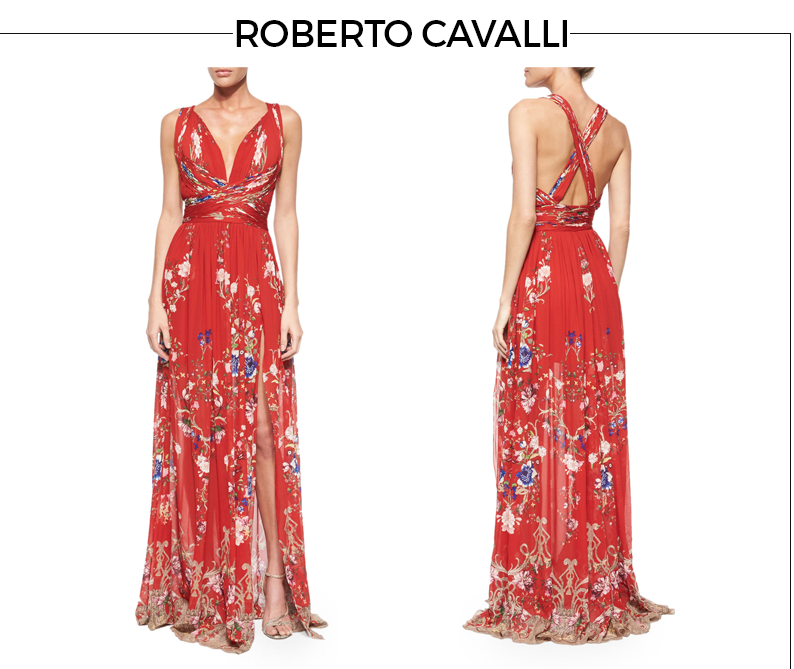 Robert Cavalli Floral-Print Crisscross Gathered Gown Style Fragment