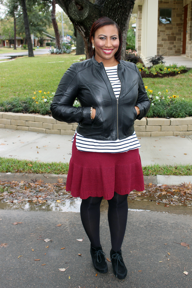 halogen leather jacket (similar), ZARA striped t-shirt, Anthropologie knit skirt,  DV Dolce Vita booties, J.Crew crystal drop earrings