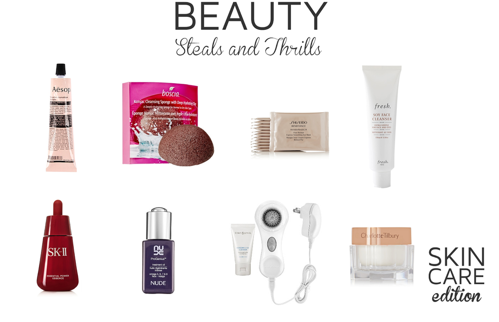Style Fragment, Beauty, Steal and Thrills, NUDE Skincare ProGenius™ Treatment Oil, boscia Konjac Cleansing Sponge With Deep Hydration Clay, Skincare, Fresh Soy Face Cleanser,  Shiseido, SK-II, Aesop, Charlotte Tilbury,