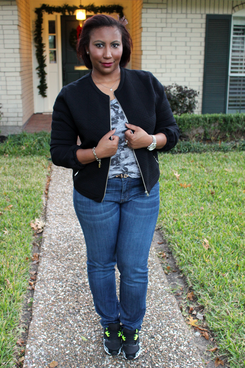 J. Crew quilted bomber, J.Crew photo floral tee, Kut from Kloth Diana jeans, Topshop sneakers, diamond studs, Rodarte bracelet, Michael KORS watch