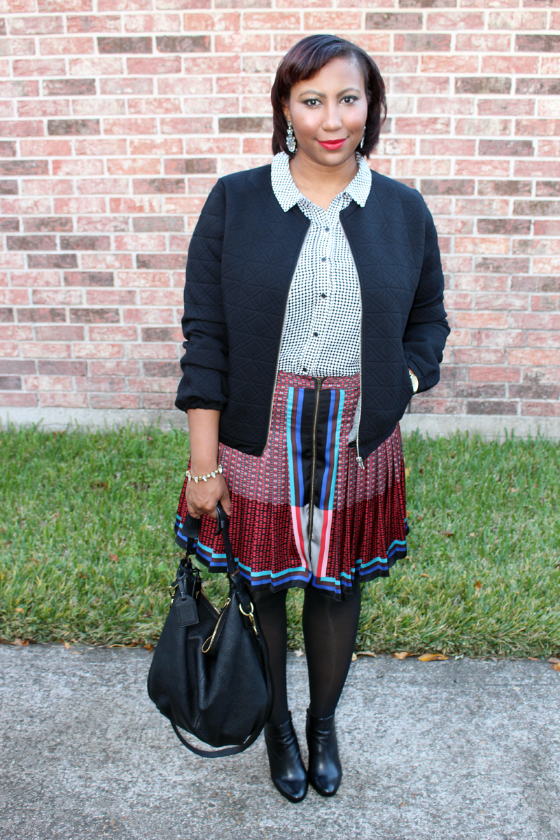 Style Fragment JCrew Bomber Jacket, Antonio Melani booties, polka dot, baubleBar earrings, Michael Kors watch, Reed Krakoff bag
