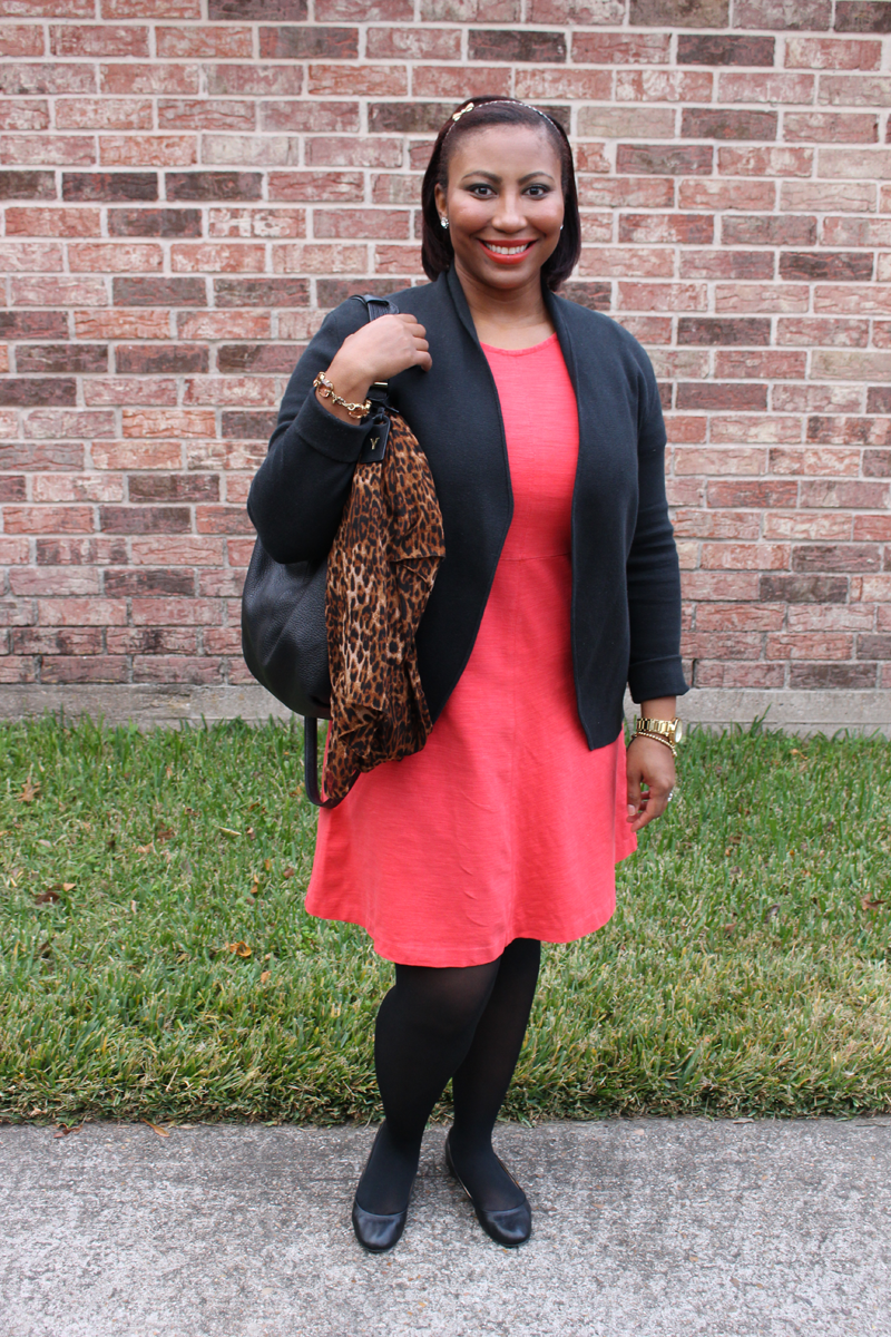 Leopard scarf, J.Crew Red dress, Cece flats