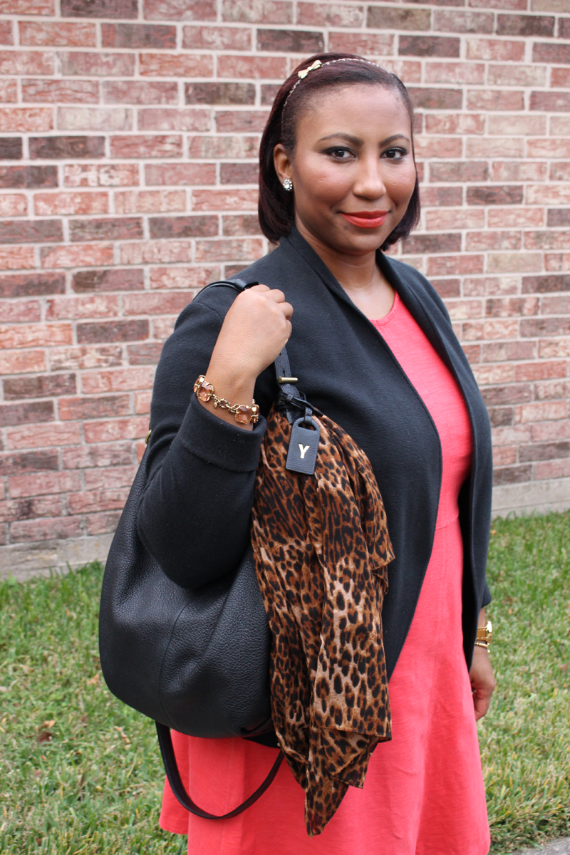 Style Fragment | Leopard scarf, J.Crew Red dress, Cece flats