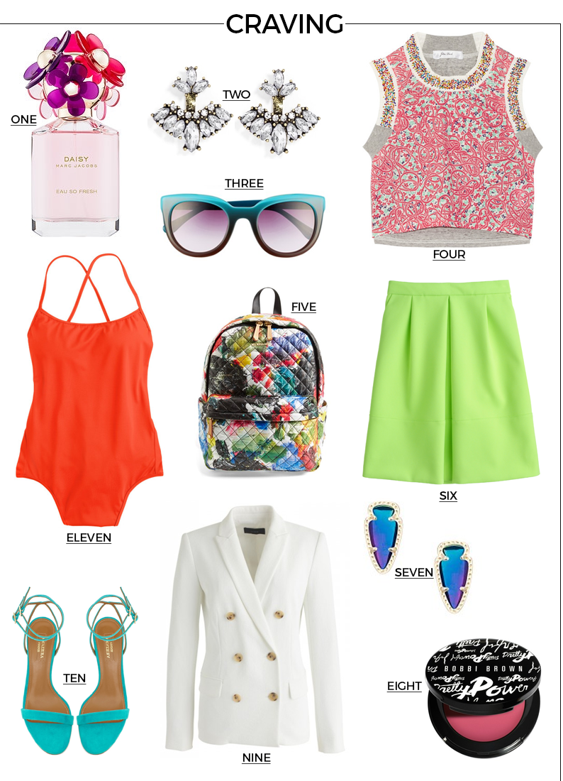 Style Fragment Craving, J.Crew, Swim, Swimsuit, Net-A-Porter, Crop top, shades, Nordstrom, Marc Jacobs, Parfume, Perfum, Backpack, Bright colors, Kendra Scott, Aquazzura, Sandals, Blazer, Bobbi Brown Makeup, blush, earrings, skirt,