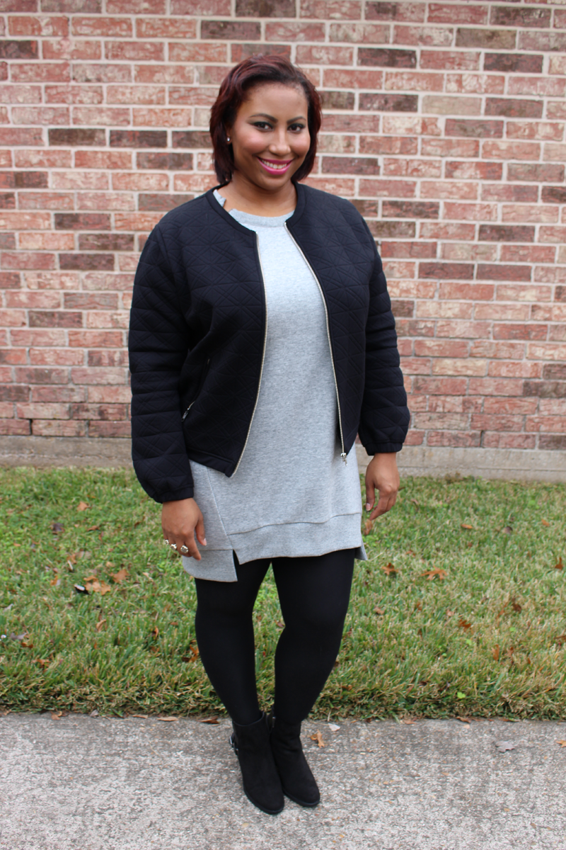Style Fragment Gray BCBG Dress and Black J.Crew Jacket, DV Dolce Vita Boots