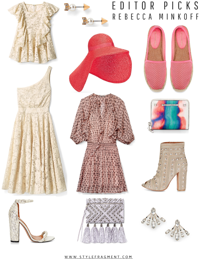 Style Fragment Editor Picks Rebecca Minkoff, flowy dress, dresses, lace, jumpsuits, floppy hats, tassel clutches