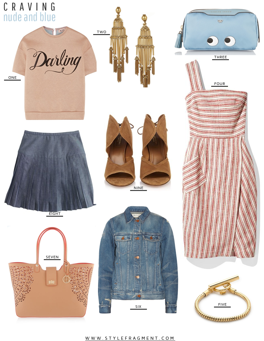 Style Fragment Craving Nude and Blue, Rachel Zoe, Anya Hindmarch, Madewell, tote, Henri Bendel, Net-A-Porter, No. 21, J.Crew, pleated skirt, Aquazurra,