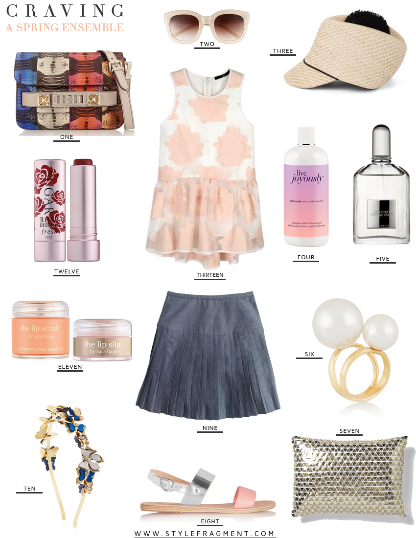 Style Fragment Craving A Spring Ensemble, Tibi, J.Crew, Proenza Schouler, Sephora, Lip Scrub, Sugar, Tom Ford, Tory Burch, BCBG, West Elm, Greek Sandals, Pear ring, Kenneth Jay Lane