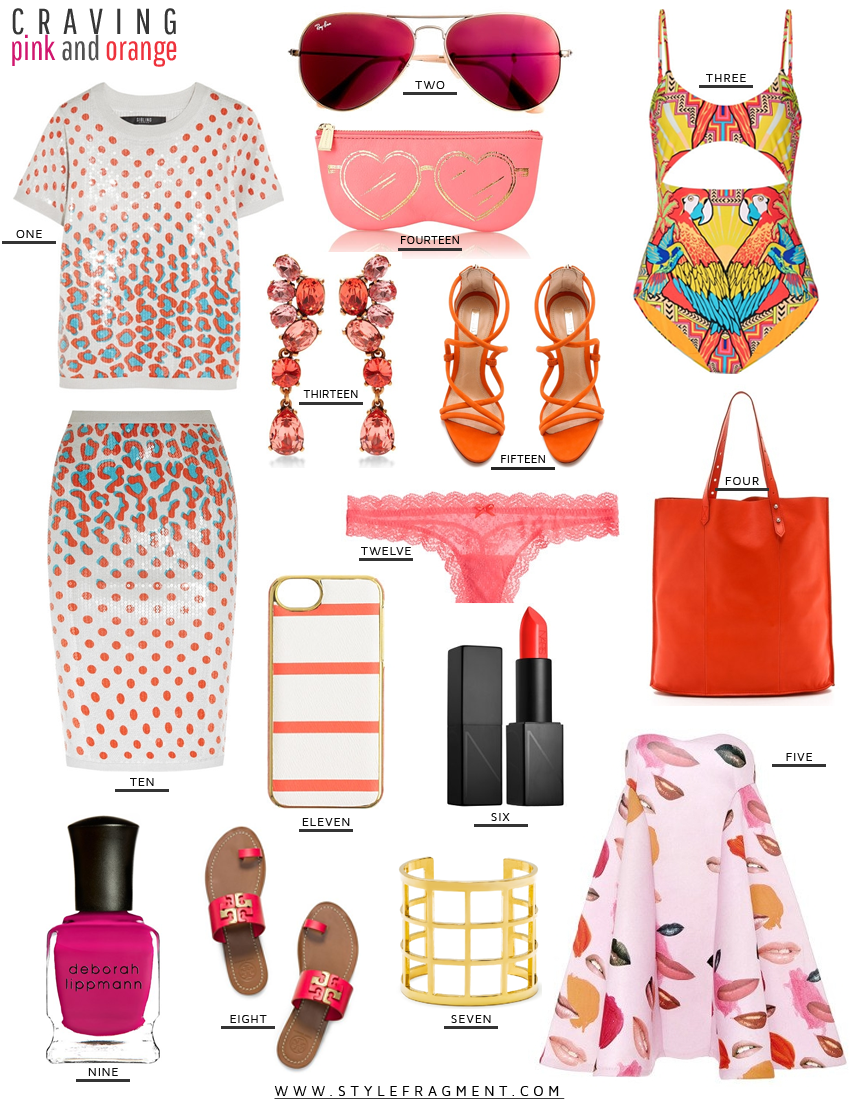 Style Fragment Craving Pink and Orange, Tory Burch, Oscar De La Renta, Rebecca Minkoff, Baubule Bar, Shopbop, Schutz, J.Crew, Sephora, NARS, Net-A-Porter, Mara Hoffman, Deborah Lippman,