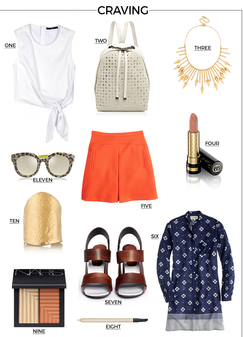Style Fragment Craving Statement Pieces, Net-A-Porter, Kenneth Jay Lane, Dolce & Gabbana, Bauble Bar, Bib, Tibi, Poplin Cropped Tie Top, J.Crew, Gucci, Lipstick, Eye Liner, Estee Lauder, Nars, Blush, Proenza Schouler, Bark Heel, Furla, Backpack, Spy Bag