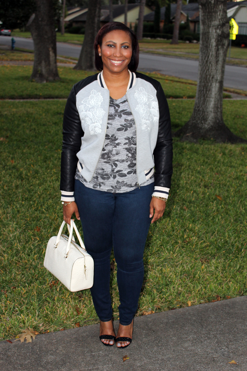 Style Fragment Finders Keepers Bomber Jacket and J.Crew Bomber Jacket, J. Crew Tee and Jeans