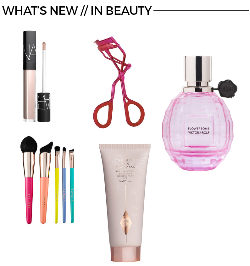 Style Fragment What's New Beauty , Nars, Sephora, Charlotte Tilbury, Eye Lash Curler, Brushes, Rose Flowerbomb, Goddess Clay Skin MAsk, Guyane