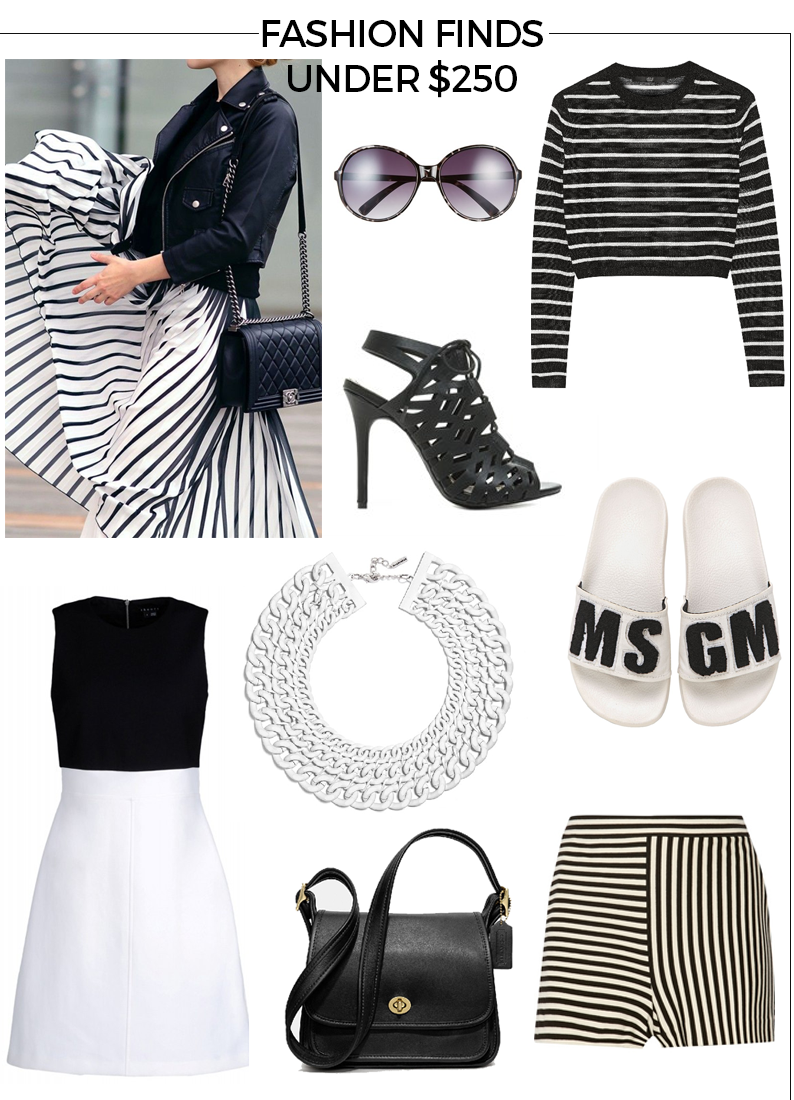 Shop Bazaar, Coach, DKNY, Stripes, Black, White