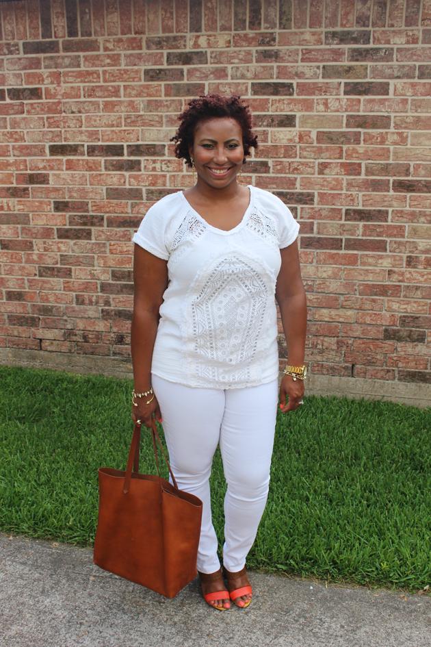 white loft jeans white shirt madewell bag