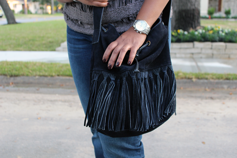 Yolonda of Style Fragment | Barely | Anthropologie, Kut from Kloth, Fringe Bag