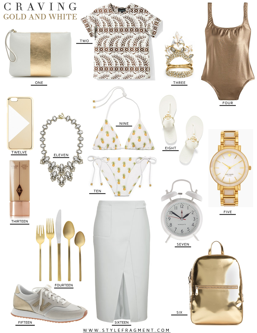 Style Fragment Craving Gold and White, J. Crew, Tory Burch, Alexis Bittar, Kate Spade, West Elm, Piperlime, Bauble Bar, Topshop, Charlotte Tilbury,