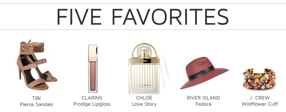 Style Fragment Five Favorites, Tibi, Clarins, Chloé, River Island, JCrew